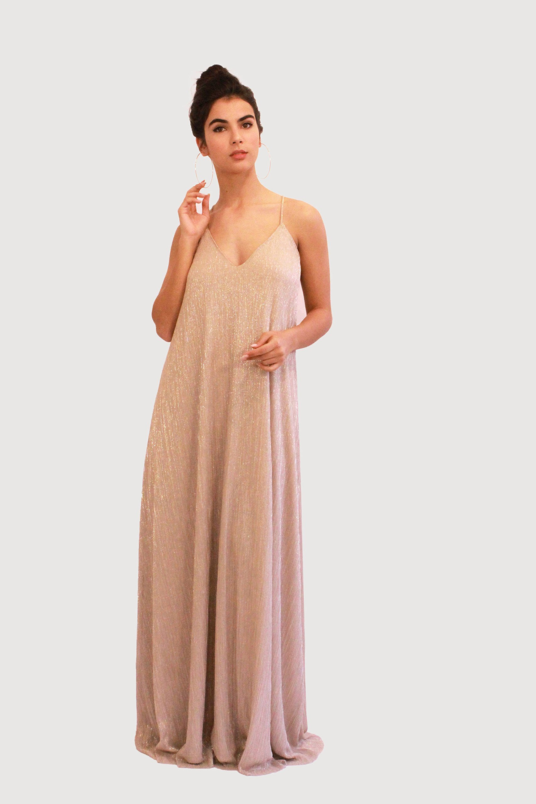 Women's Gold Dress, Bridesmaid, Prom and Evening Dress, Maxi Long Dress for Wedding, Elegant Pleated Gown