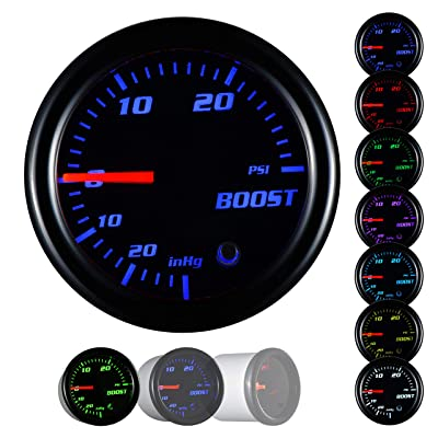 Turbo Boost/Vacuum Gauge Kit 30 PSI Tinted 7 Color - Includes Mechanical Hose & T-Fitting - Black Dial - Smoked Lens - For Car & Truck - 55mm: Automotive
