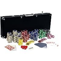 Set da poker Ultimate Black Edition - 500 chip laser da 12 grammi con centro in METALLO, carte in 100% PLASTICA,