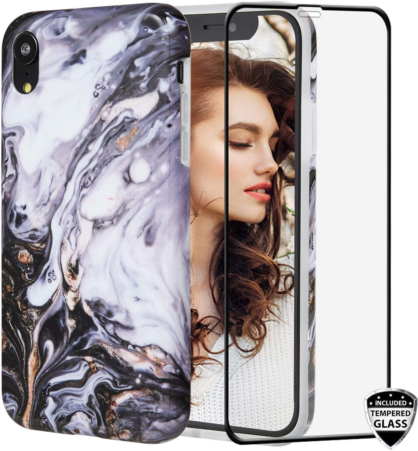 iPhone XR Case with Glass Screen Protector,REEJAX Cute Rose Marble for Girls Women Best Protective Slim Fit Clear Bumper Glossy TPU Soft Silicon Cover Phone Case for iPhone XR 6.1inch