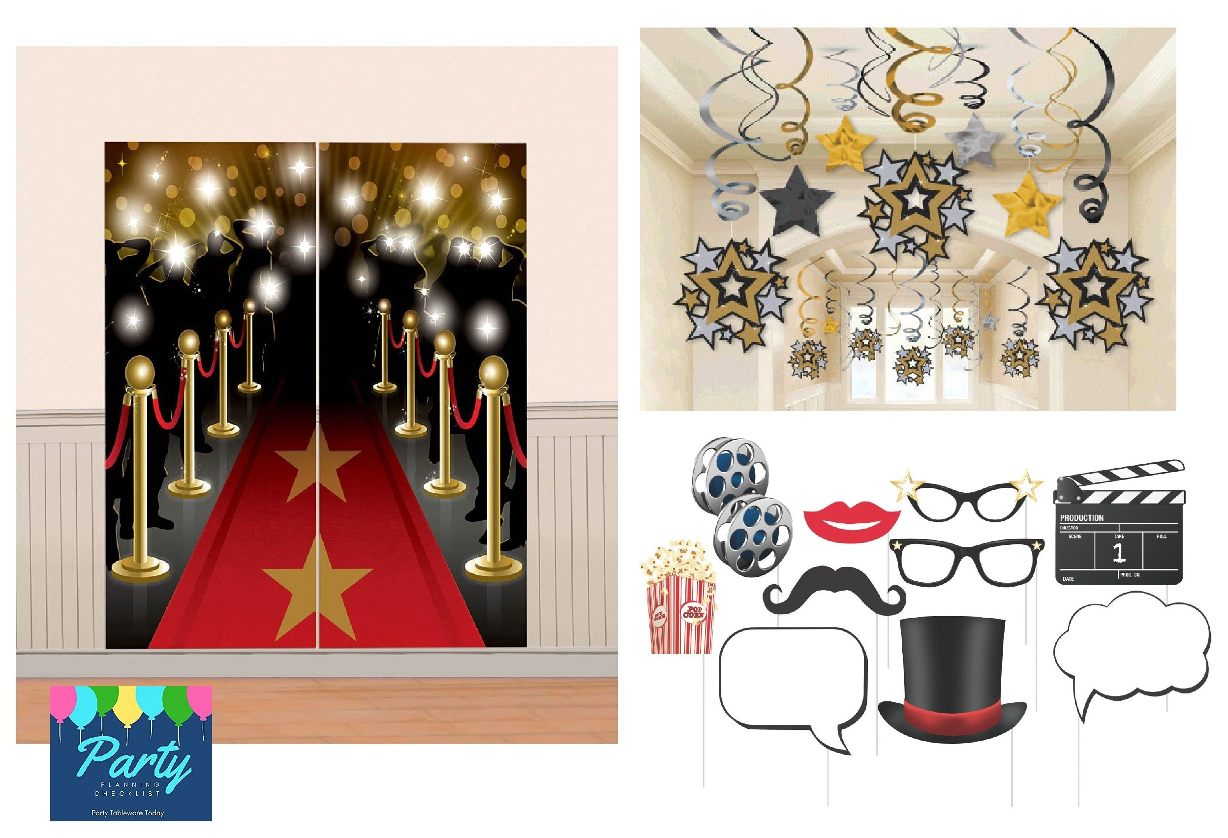 Hollywood Theme Mega Decorating Pack Including:Mega Swirl Hanging Decorations, Red Carpet Scene Setter & Movie Theme Photo Booth Props