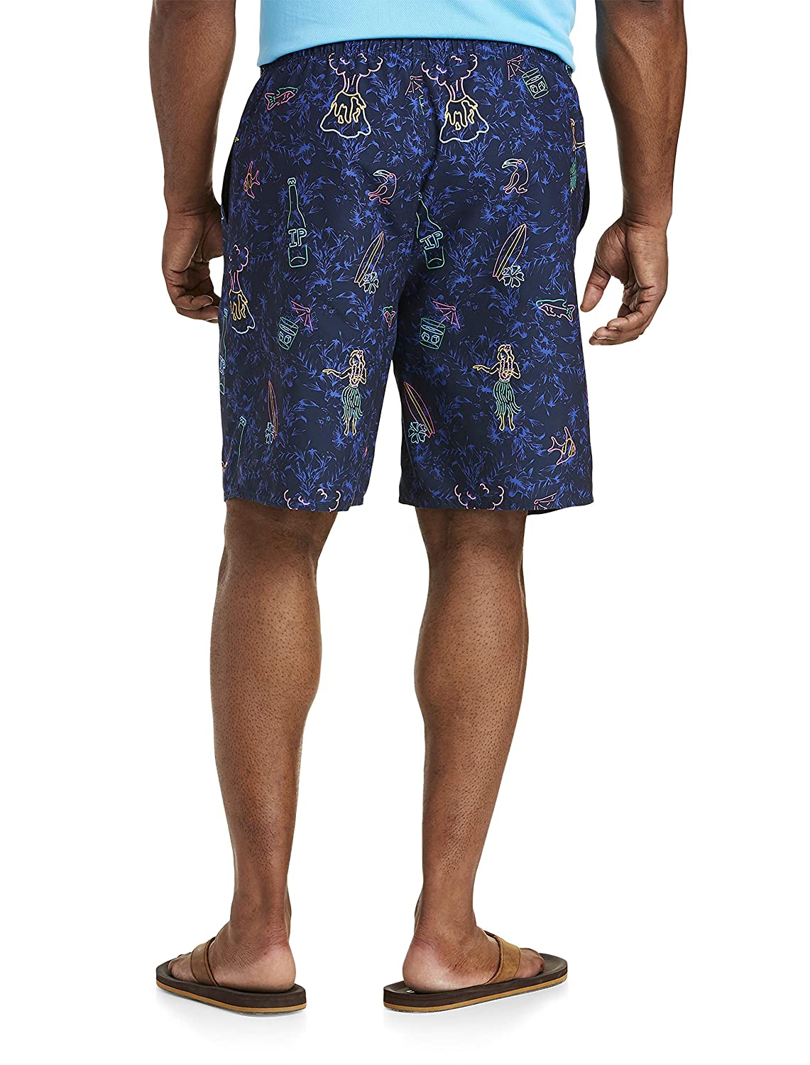 Island Passport by DXL Big and Tall Floral Neon Lights Swim Trunks Peacoat Navy
