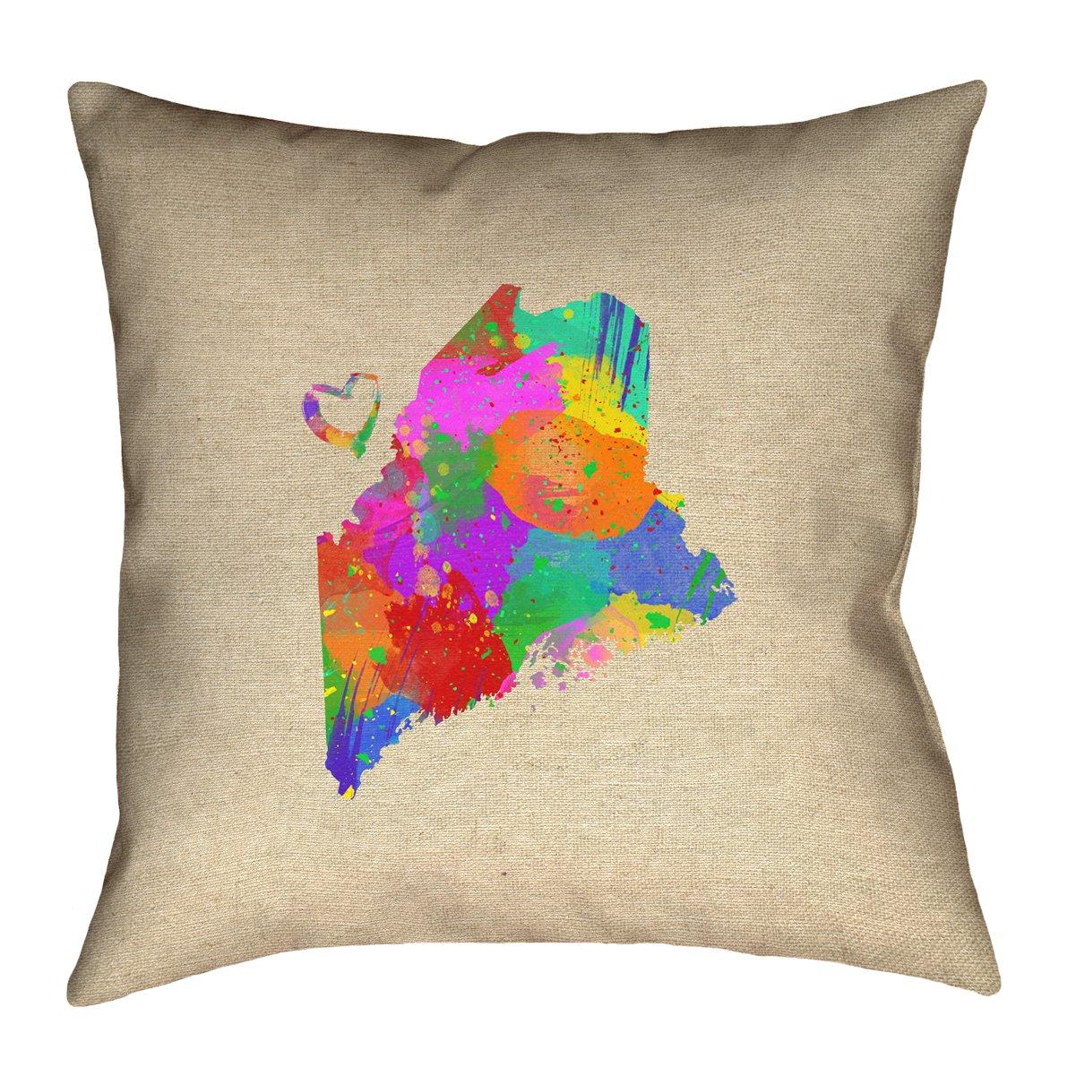 ArtVerse Katelyn Smith 16 x 16 Spun Polyester Maine Love Watercolor Pillow