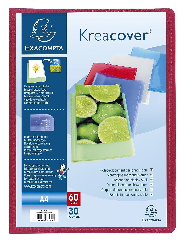 20 pockets Exacompta Kreacover Semi-Rigid PP Display Book A4 Blue