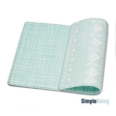 Simple Being Anti Fatigue Kitchen Floor Mat, Comfort Heavy Duty Standing Mats, Ergonomic Non-Toxic Waterproof PVC Non Slip Washable For Indoor Outdoor Home Office (Green Geometric, 32  x 17.5 )