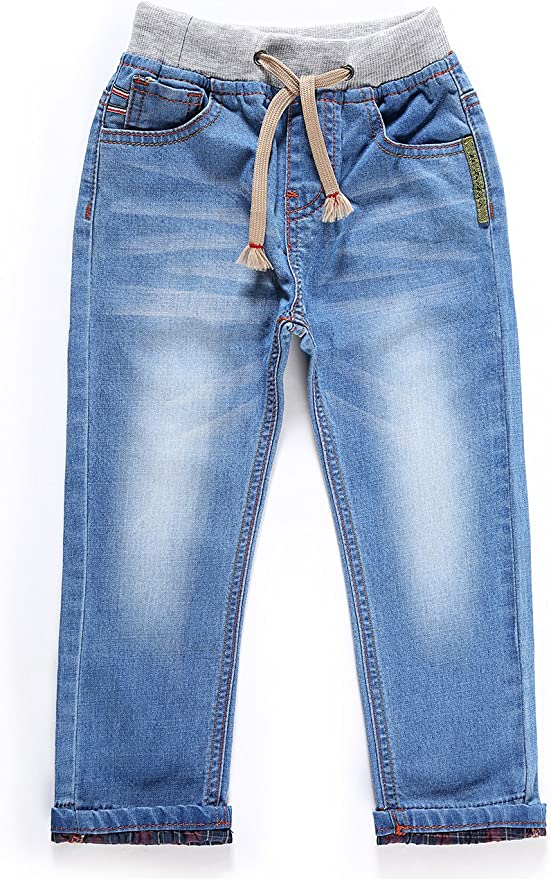 LITTLE-GUEST Baby Jeans Toddler Girls Kids Waistband Regular Fit Place Stretch Denim Pants G115