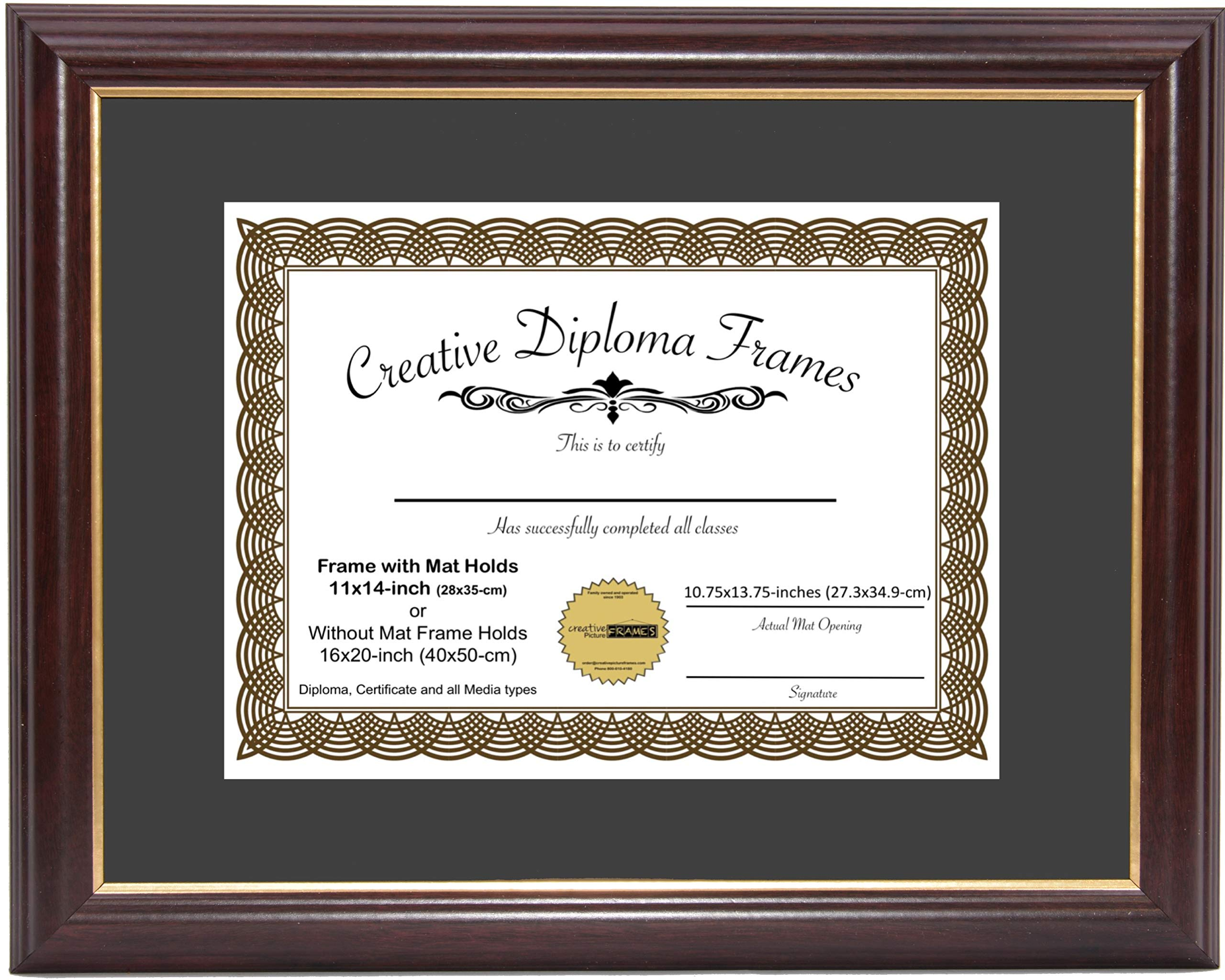 CreativePF [11x14-Diploma] Mahogany Frame with Gold Rim, Black Matting Holds 11x14-inch Documents with Glass and Installed Wall Hanger