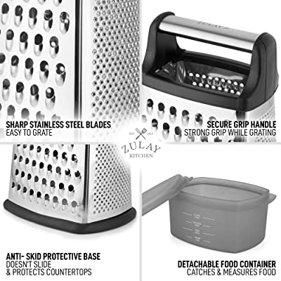 Stainless Steel Grater 4 Sided For Cheese Vegetables With Container Box UK