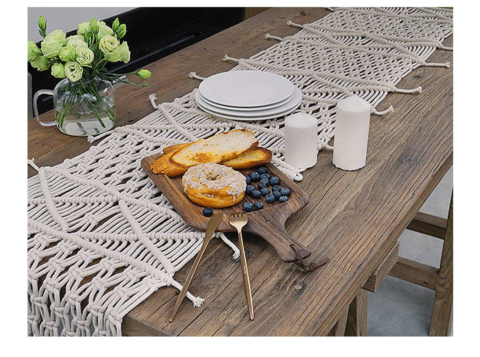 RISEON Bohemia Handmade Natural Macrame Table Runner, macrame table placement, Macrame table Centerpiece, Bed Runner Wedding Home Boho Decor (13.7''W x 59''L)