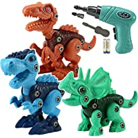 LeonMake Kids Building Dinosaur Toys: 3 Pack Dino Take Apart Toys with Electric Screwdriver for Ages 3-7 yr Boys & Girls…