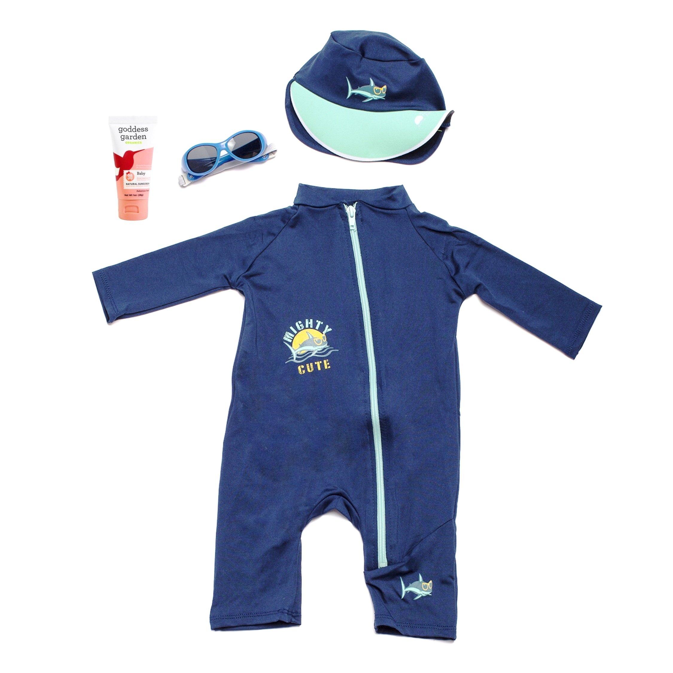 Baby's First Sun Day Infant Toddler Long Sleeve Sunsuit, Sun Cap, Sun Glasses and Goddess Garden Organics Sunscreen Kit (18 to 24 Months, Navy)