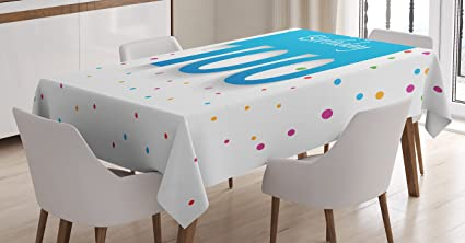 Ambesonne 100th Birthday Decorations Tablecloth Party Wish For 100 Years Old With Colorful Dots
