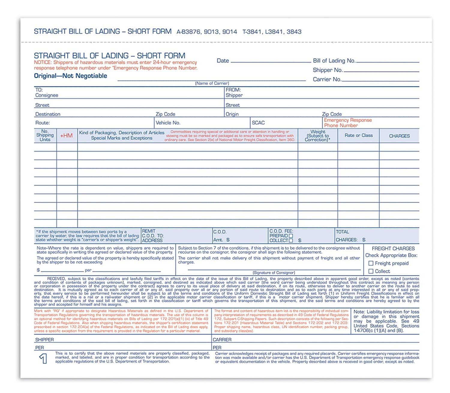 Amazon.com : Adams Bill Of Lading Short Form, 8 1/2 X 7 7/16 Inches, White,  3 Part, 250 Count (B3876) : Blank Shipping Forms : Office Products  Free Bill Of Lading Template