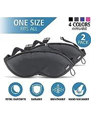 Lewis N Clark 505blkx2 2 Pack Eye Mask with Adjustable Strap, Black