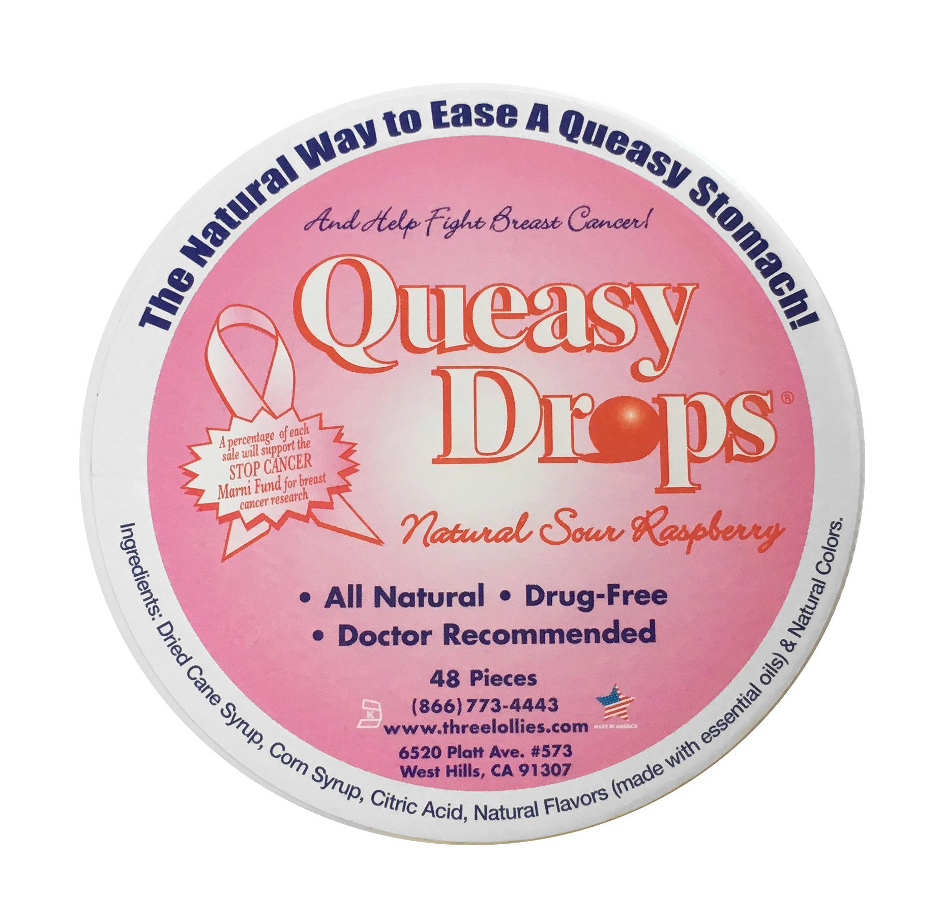 Three Lollies Assorted Queasy Drops for Nausea Supporting Breast Cancer Awareness, 48 Count