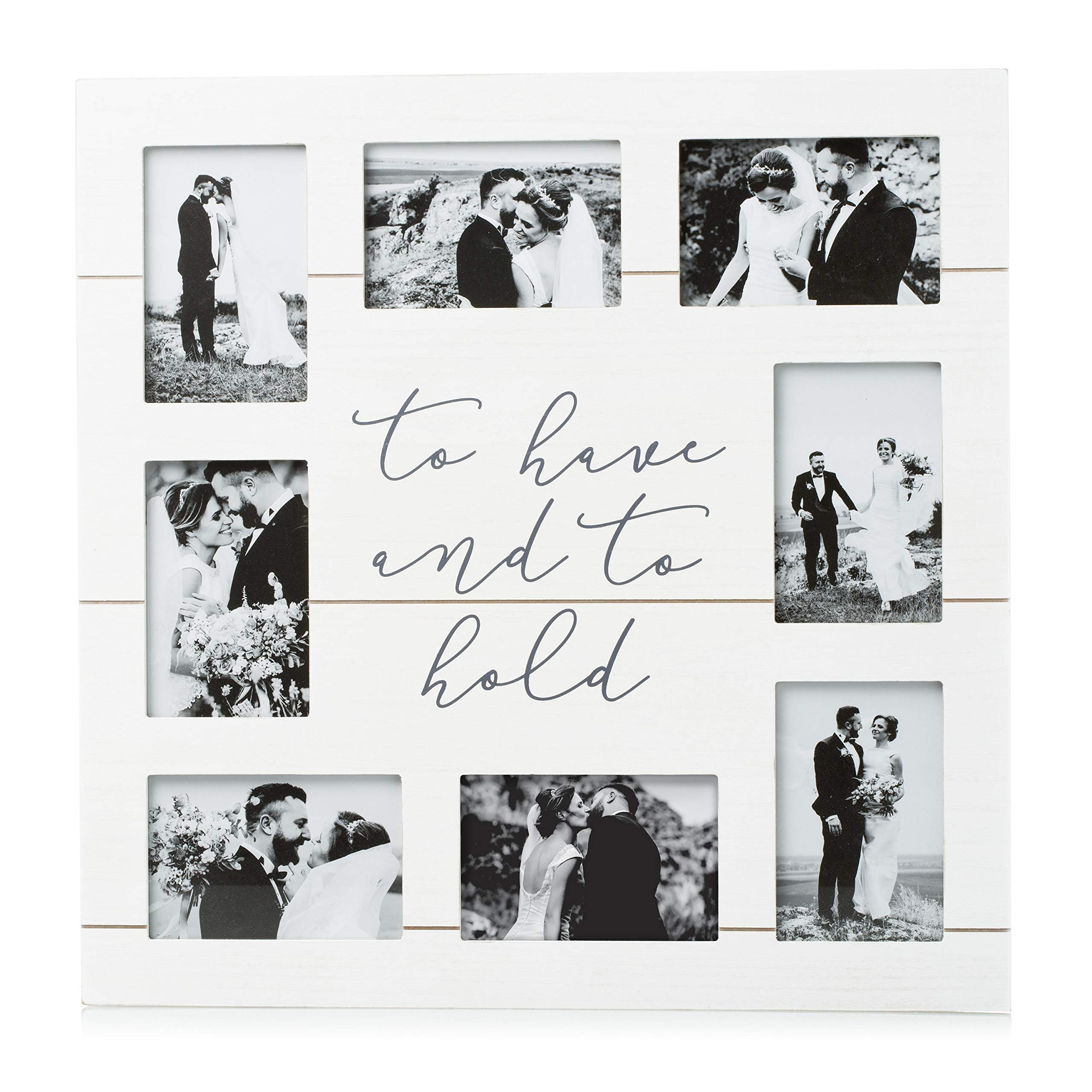 Pearhead Shiplap Wedding To Have and to Hold Collage Frame, Perfect Wedding Gift for The Bride and Groom, White by Pearhead
