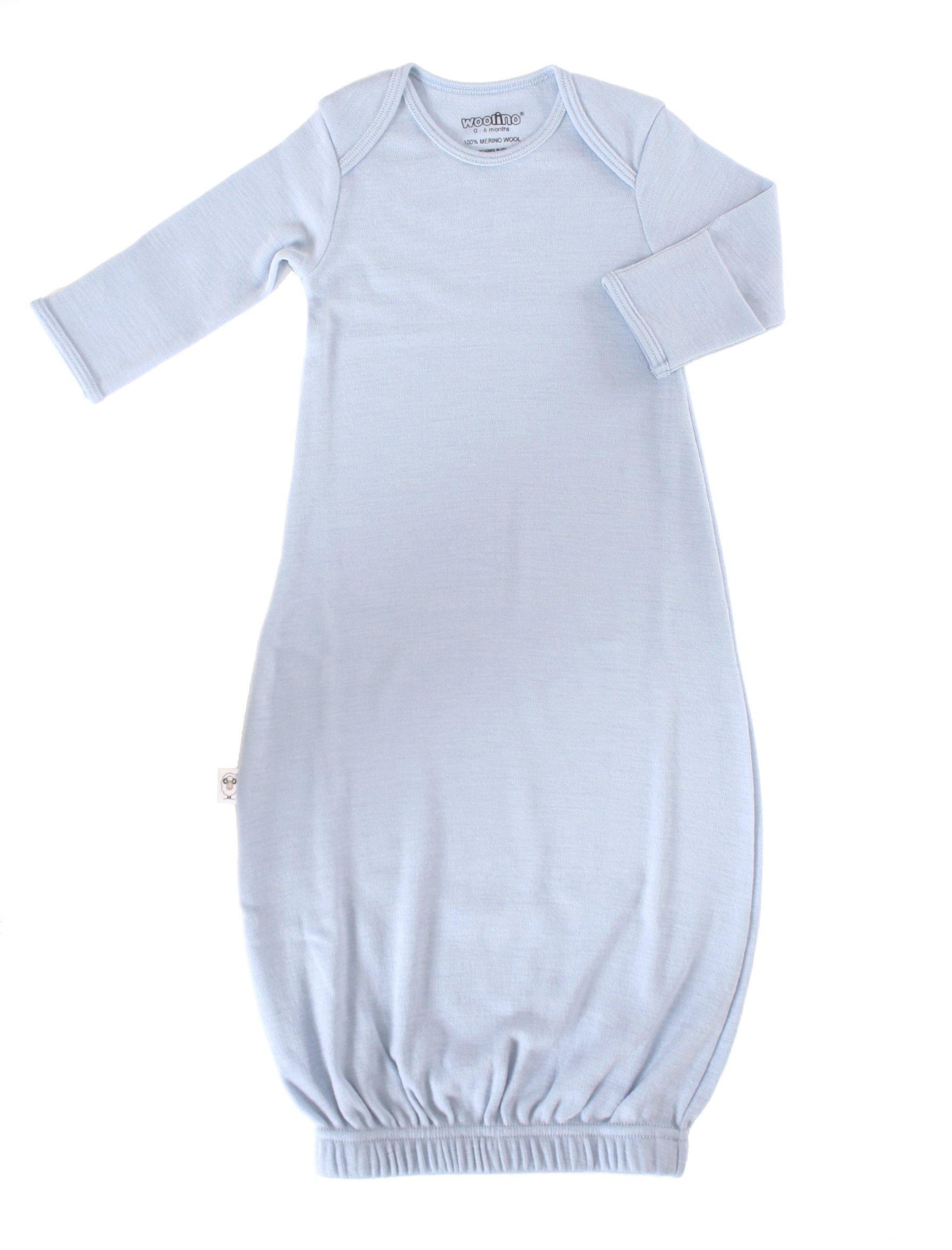 Woolino Infant Baby Boys Gown, 100% Superfine Merino Wool, 0-6 Months, Blue