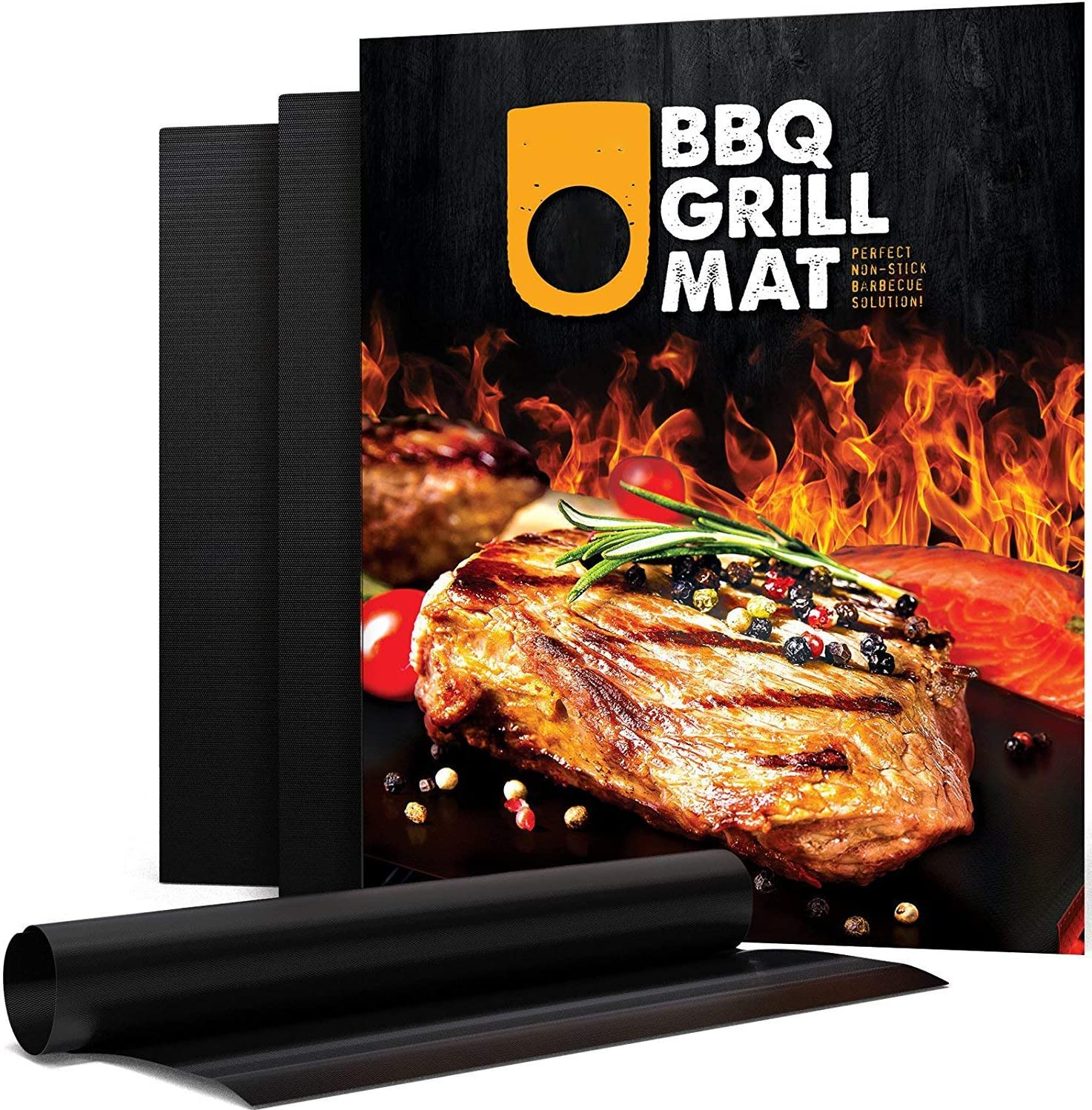 Grill Mat Set of 5 - USA Brand 100% Reusable Non-Stick Oven Toaster BBQ Grill Mats Heavy Duty Dish Washer Safe - Safe on Gas, Electric, Charcoal, Stove Top 16x20-inch Black 3 Month Warranty