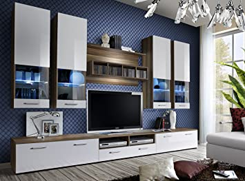 Juub Wohnwand Anbauwand Wohnzimmer Schrankwand DORADE Hochglanz LED ...