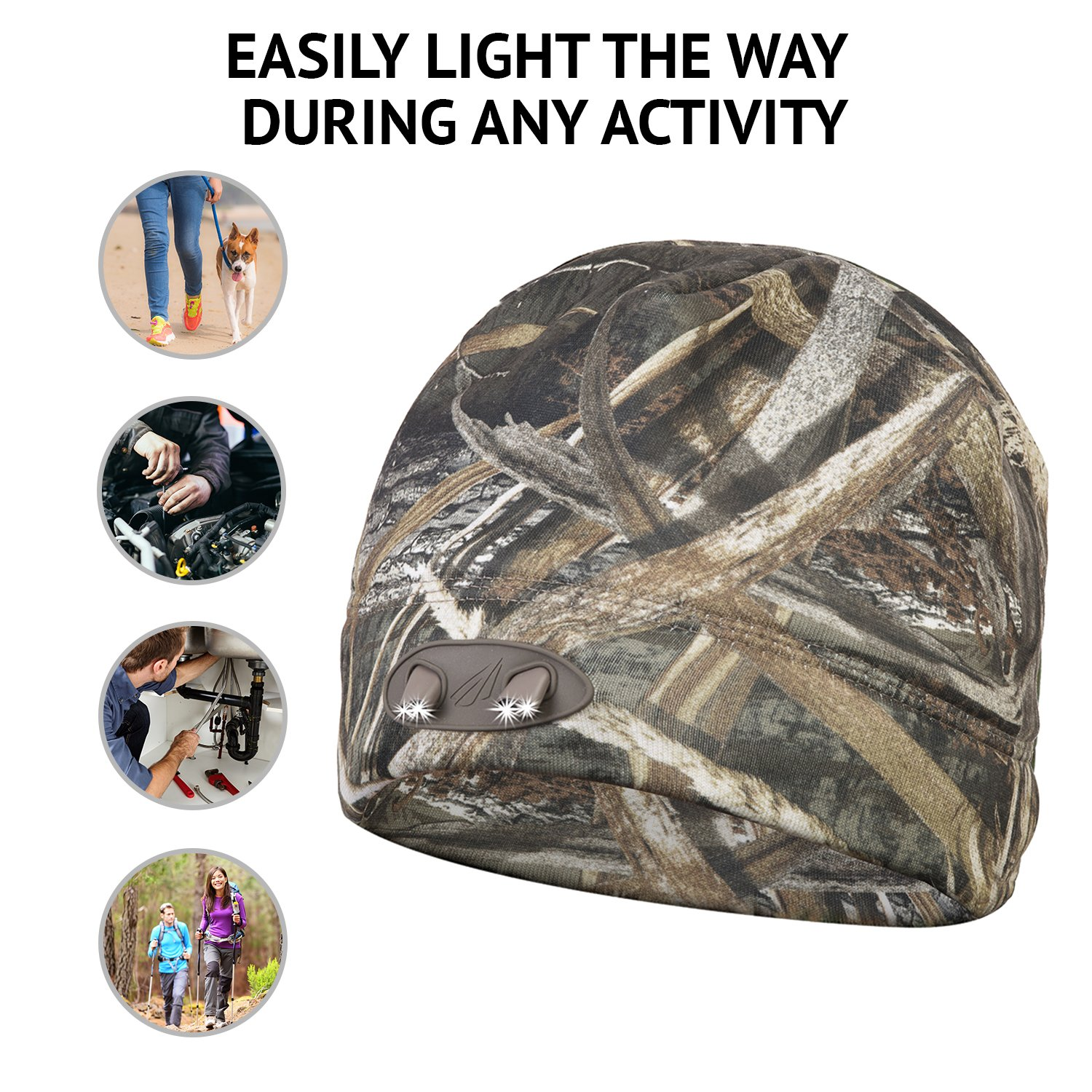 546f922300336 POWERCAP LED Beanie Cap 35  55 Ultra-Bright Hands Free LED Lighted Battery  Powered Headlamp Hat - Compression Fleece ...