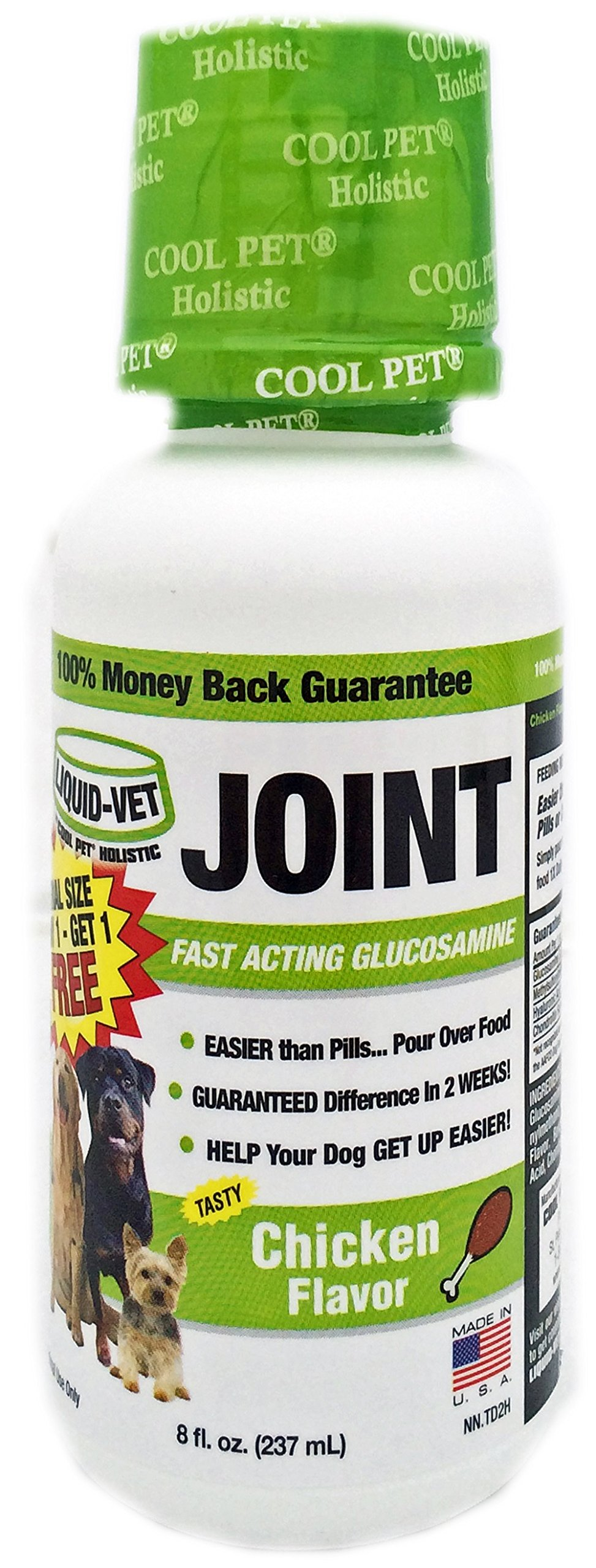 Liquid-Vet Dog Joint Formula – Fast Acting Glucosamine for Joint Aid in Canines – Chicken Flavor – Trial Size, Buy 1 Get 1 Free – 8 Fluid Ounces