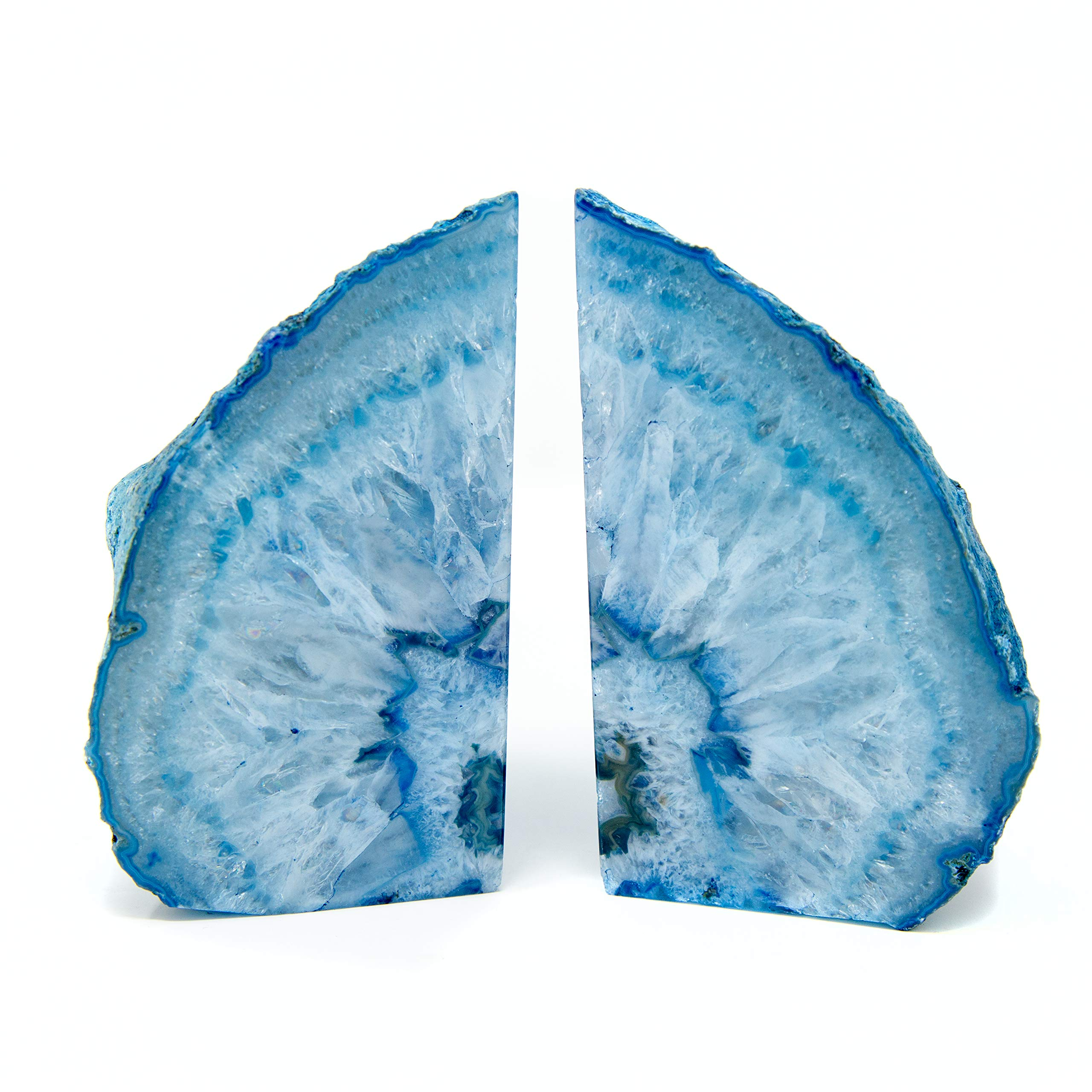 Legacy Of Nature Bookends: Pair Polished 100% Authentic Brazilian Agate Geode Halves Bookends w/Mystery Healing Stone (Blue, 2-4 Pounds) by Legacy Of Nature