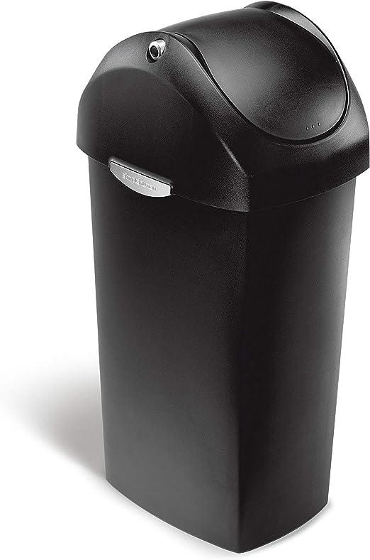 HEAVY DUTY STRONG PLASTIC BLACK SWING DUST BIN WITH 60 LITER CAPACITY