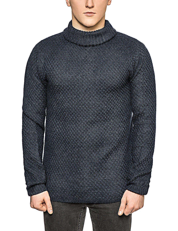 Bellfield Men's Roll Neck Jumper - Chunky Knit - Wool Knitwear - Sweater - Blue