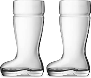 Circleware 55667 Das Boot Set of 2 Beer Glasses Drinking Mugs, Funny Shaped Entertainment Beverage Glassware for Water, Juice, Bar Barrel Liquor Dining Decor, 2, Large 1 Liter