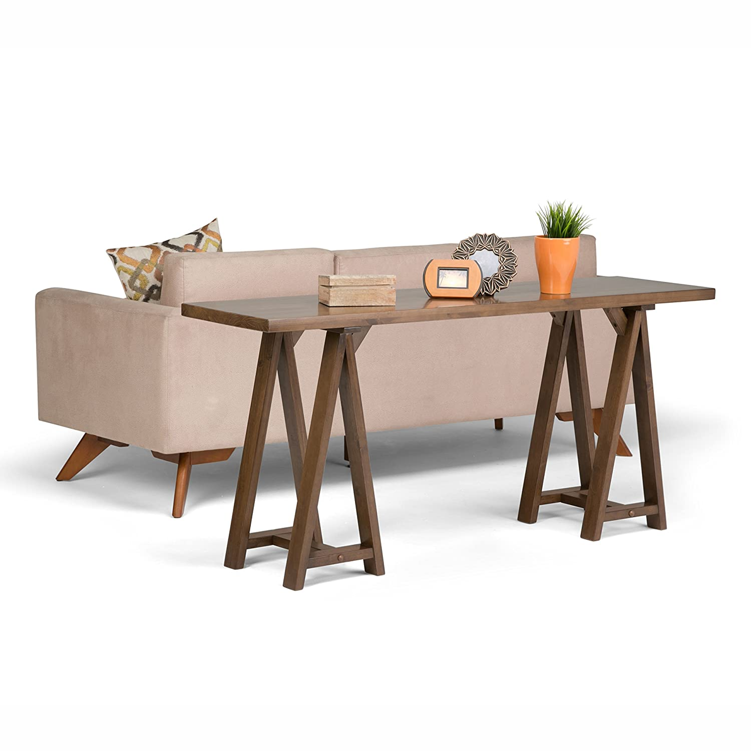 Simpli Home Sawhorse Wide Console Sofa Table, Medium Saddle Brown