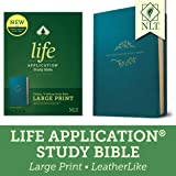 Tyndale NLT Life Application Study Bible, Third Edition, Large Print (LeatherLike, Teal Blue, Red Letter) – New Living…