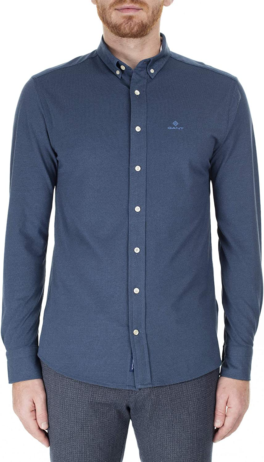 Gant Pique Solid - Camisa de corte regular en color azul marino: Amazon.es: Ropa y accesorios