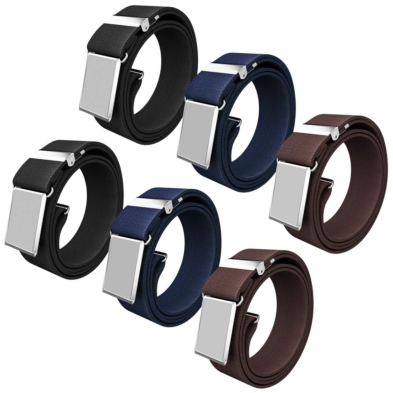 Senker 6PCS Kids Boys Elastic Adjustable Stretch Belt with Silver Square Buckle, 3 Colors 019-BELT-1