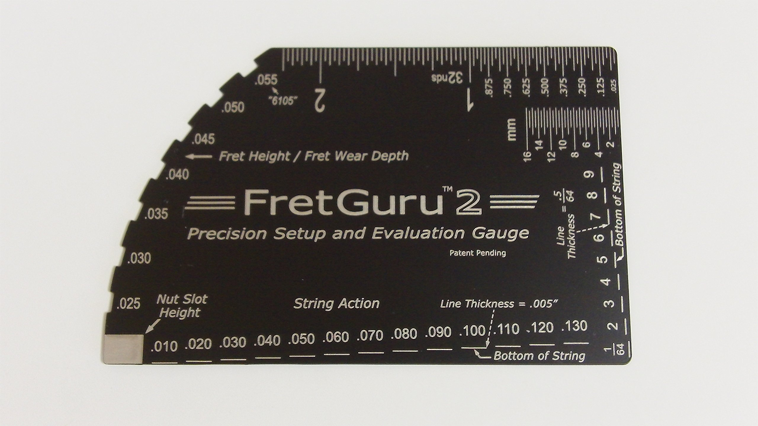 FretGuru 2 Precision 8-in-1 Guitar String Action Gauge Fret Rocker Ruler Luthier Tool guitarist gift #BONUS LEATHER CASE# Super Precise CNC Machined, Diamond Honed, Polished Edge = NO SCRATCHED FRETS