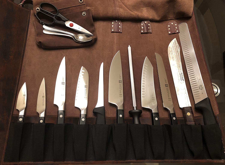 Compra RusticTown Bolsa de Almacenamiento de Rollo de Piel Multiusos Cuchillo Chef, Acabado Satinado en Amazon.es