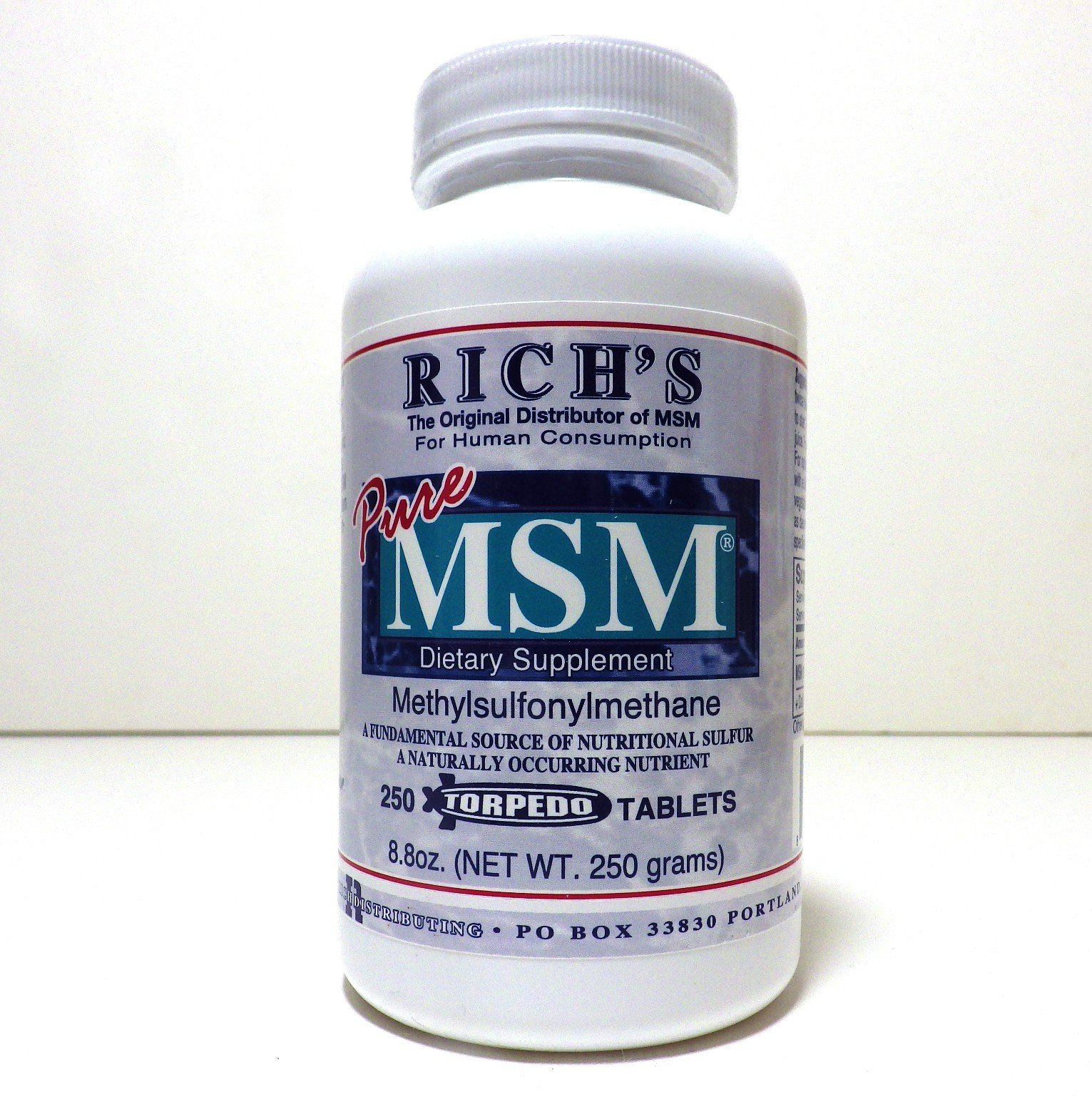 Rich's Pure MSM (Methylsulfonylmethane) 1000 mg 250 Tablets