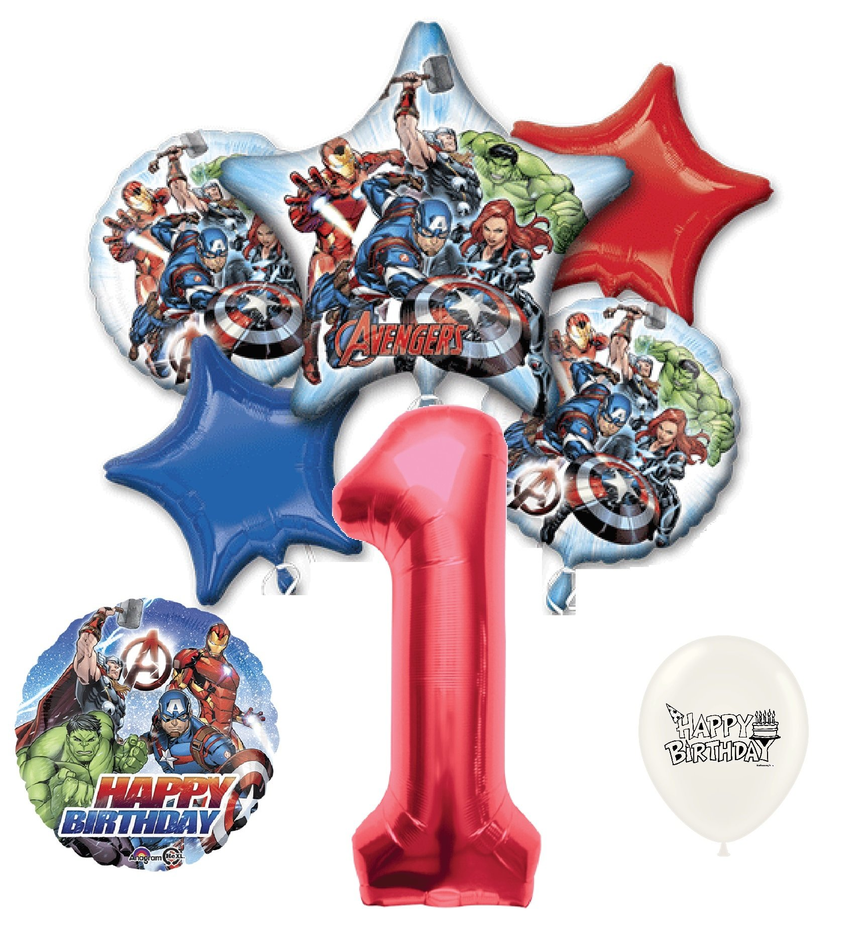 1st Birthday Red Number Avengers Balloons Bouquet Bundle