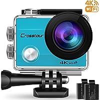Crosstour WiFi Cámara Deportiva Acción 1080P Full HD 2.0 LCD Pantella Cámara Impermeable 2 Baterías 1050mAh 170 Grados Gran Ángulo Sumergible 30m y 20 Accesorios Multiples (4K Blue)