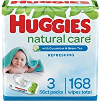 Baby Wipes, Huggies Natural Care Refreshing, SCENTED, Hypoallergenic, 3 Flip-Top Packs, 168 Count