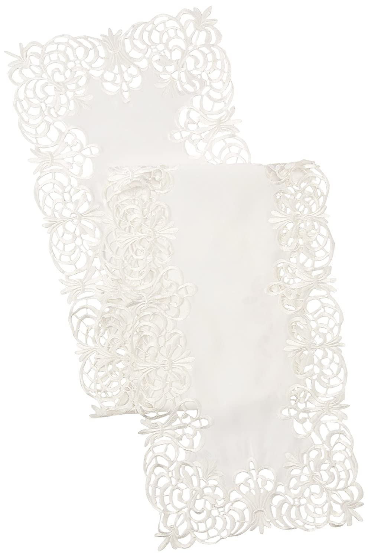 70x160 70x160 SARO LIFESTYLE 114.I70160B Cutwork Lace Tablecloth Ivory