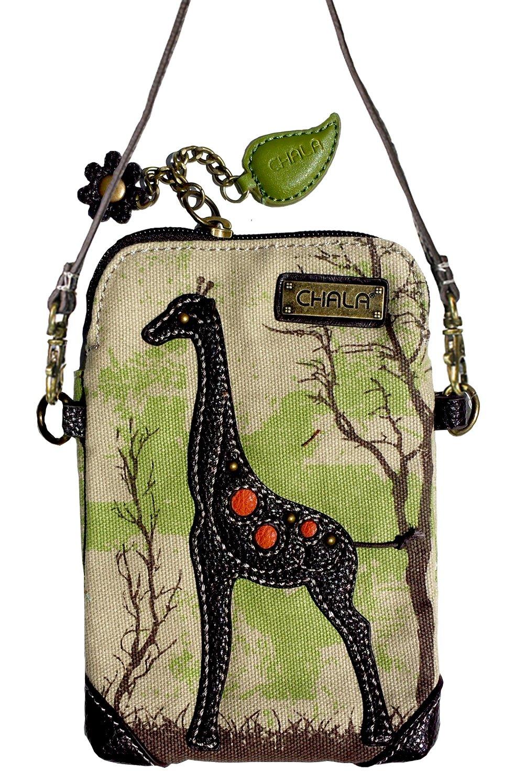 Chala Crossbody Cell Phone Purse - Women Canvas Multicolor Handbag with Adjustable Strap (Canvas Giraffe - Safari Sand)