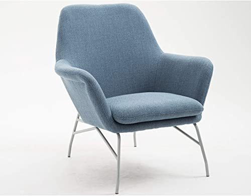 Coco Accent Chair in Old Blue Jeans with Curved Arms And Steel Legs, by Artum Hill