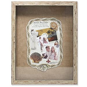 Lawrence Frames Weathered Front Hinged Shadow Box Frame with Burlap Display Board, 11 by 14-Inch, Natural