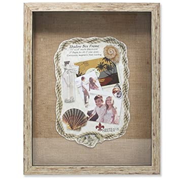lawrence frames weathered front hinged shadow box frame with burlap display board 11 by 14
