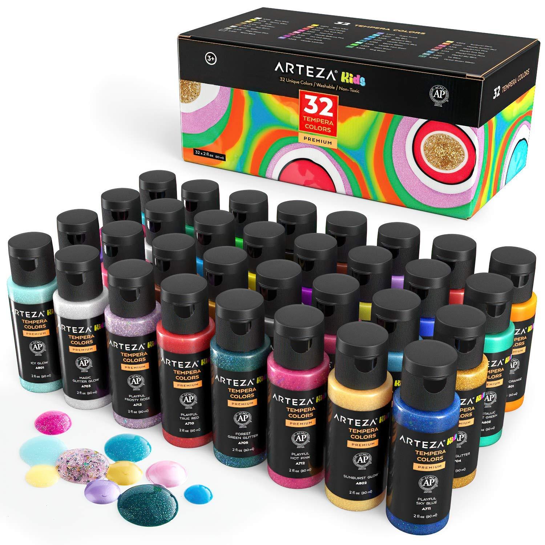 Arteza KIDS farba temperowa, zestaw 32 butelek, 60 ml, farba plakatowa do majsterkowania