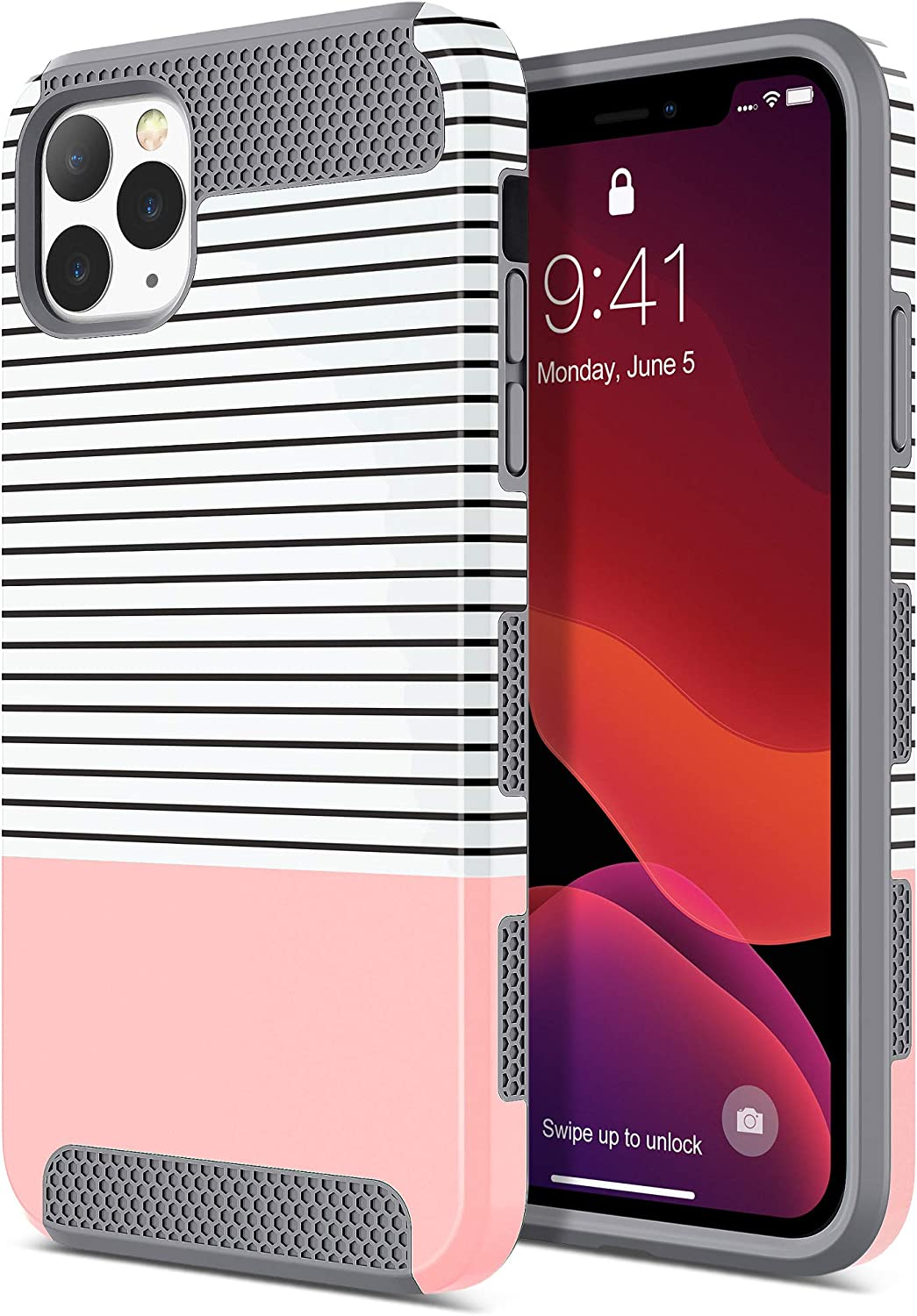 ULAK iPhone 11 Pro Max Case, Stylish Slim Fit Hybrid Dual Layer Protective Flexible ShockProof TPU Bumper Hard PC Back Cover for Apple iPhone 11 Pro Max 6.5 Inch (2019), Rose Gold Stripes