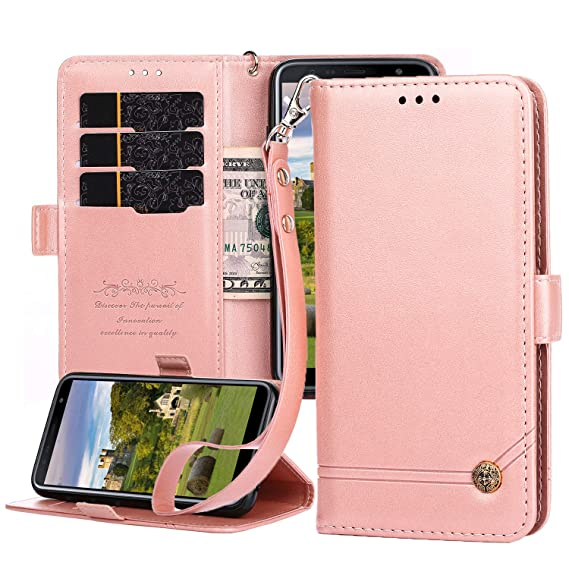 san francisco 915ee cb9ec Samsung J6 Plus Case,Galaxy J6 Prime Flip Case PU Leather Magnetic Wallet  Cover with Kickstand Feature Card Slots/Cash Pocket for Samsung J6  Prime/J6+ ...