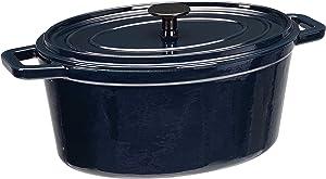 AmazonBasics Z4715MB Premium Enameled Cast Iron Oval Dutch Oven, 6-Quart, Deep Blue