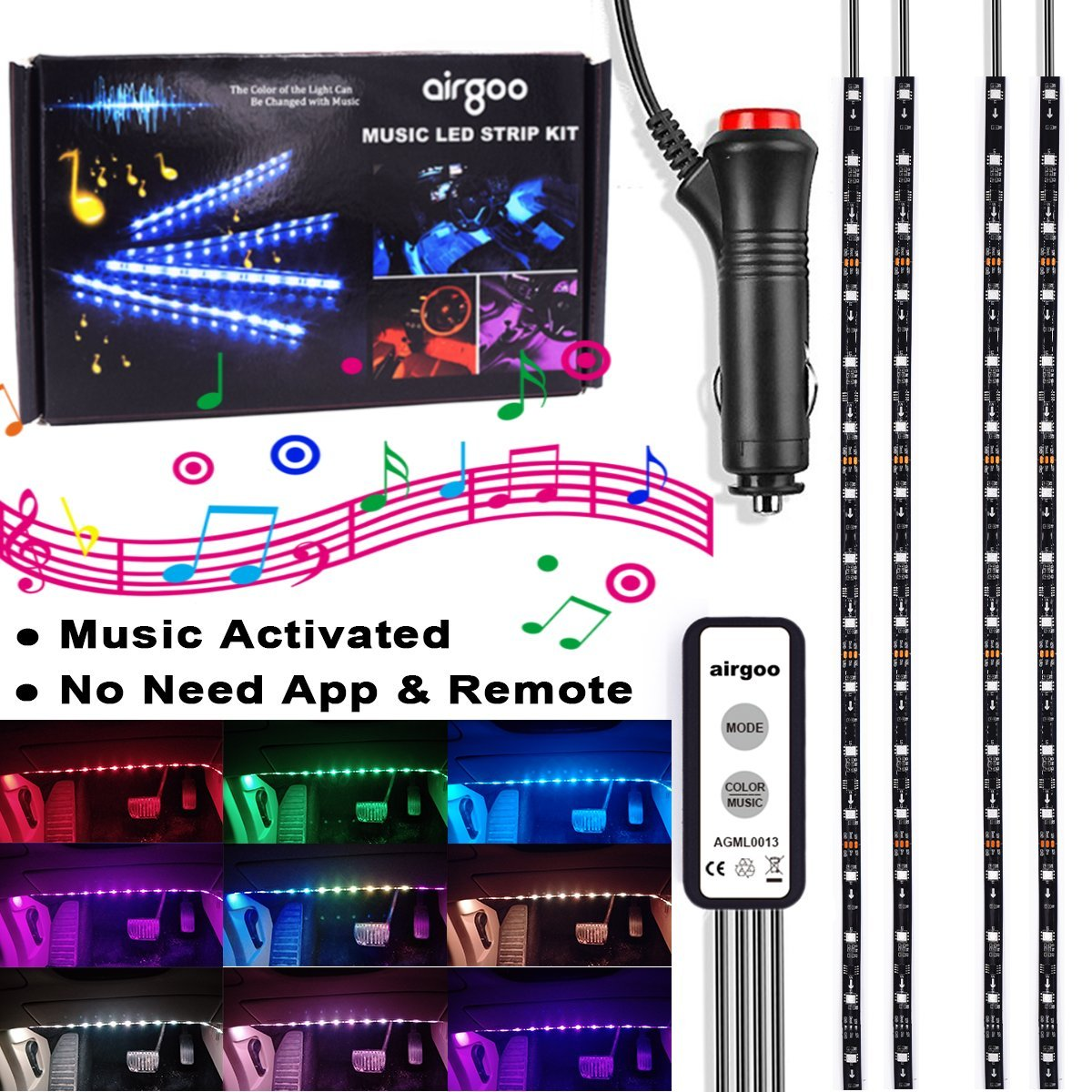 Rainbow Car LED Strip Light - Music DreamColor Interior Led Lights, Waterproof Music Under Dash Lighting Kits, Single Wire Controller Unique Colorful Dynamic Car Interior Lights, Car Charger Included by airgoo