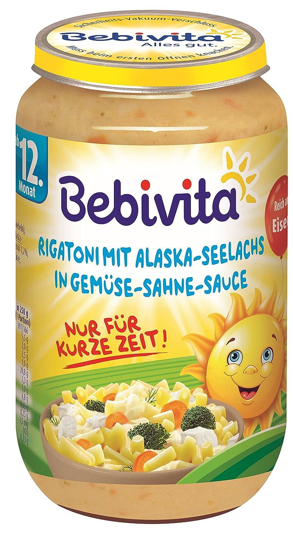 Bebivita Menü s ab 12.Monat Limitiert Sonne: Rigatoni mit Seelachs in Gemü se-Sahne-Sauce, 6er Pack (6 x 250 g) 1059